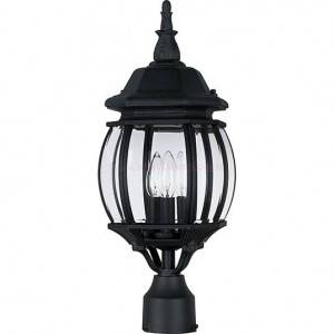 Maxim Crown Hill Series 3-Light Outdoor Pole/Post Lantern 1035BK