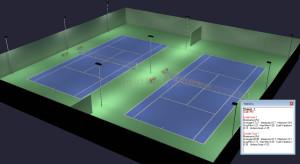 Outdoor Tennis 2 Court Parallel LED Lighting 9 poles 12 fixtures Hurricane Option (Outdoor Tennis Court