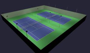 Outdoor Tennis 7 Court Parallel Custom LED Lighting 56 fixtures with custom mounts