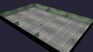 Outdoor Tennis 3 Clay Court Parallel LED Lighting 12 poles 18 fixtures HO (Outdoor Tennis Court)