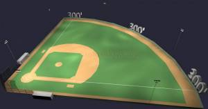 Baseball Softball Field Turnkey Lighting System 300' Field 50/30 fc HID Lighting Package 6 poles 44 fixtures with Controls (Outdoor Field Lighting)