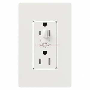 Lutron CAR-20-DDTR 20 A Dual Dimmable Tamper Resistant Receptacle (Gloss)