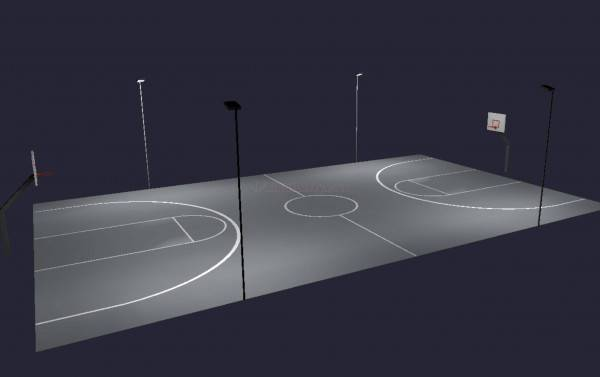 Outdoor Basketball Recreational Lighting Full Court 4 Poles 4 Fixtures