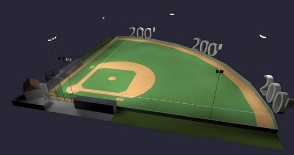 Baseball Softball Field LED Lighting System 200  Field 50 30 6 poles 20  fixtures with Controls 3b48d10bc823