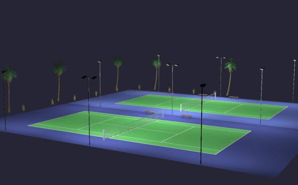 Outdoor Tennis 2 Court Led Lighting 9 Poles 16 Fixtures